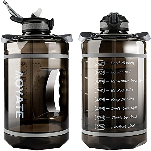 1 Gallon /128 OZ Motivational Water Bottle with Time Marker & Straw, Leakproof Large Water Jugs with...