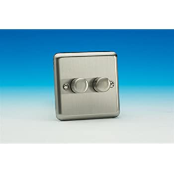 Varilight JIP252 Iridium Noir 2 Gang 2 W Push-On//Off DEL Dimmer 0-120 W V-pro