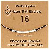 YooAi Bracciale codice Morse Regali di Buon Compleanno per Ragazze Ragazzi Bracciale in Argento Gioielli Regalo di Compleanno per 16 Anni Perline su Cordoncino di Seta 16 °