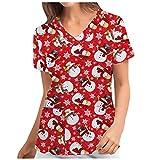 Weihnachten Geschenke für Frauen Kasack Damen Pflege: Bunt mit Motiv T-Shirt Schlupfkasack mit Taschen Kurzarm V-Ausschnitt Schlupfhemd Berufskleidung Krankenpfleger Uniformen Nurse