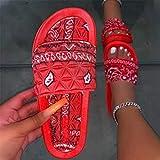 CCJW Sandalias antideslizantes para la casa de la ducha, sandalias de playa de raso flores-rojos_40, chanclas de gran aspecto kshu