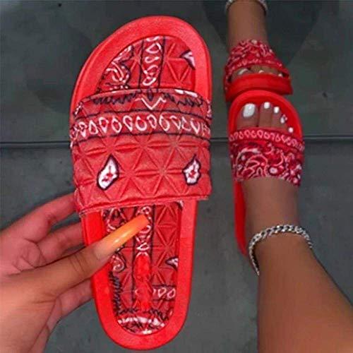 FYSY Fangkai77 Zapatos de casa de secado rápido, sandalias de playa de raso con flor rojas_37, cuña baja sin cordones en los dedos del pie