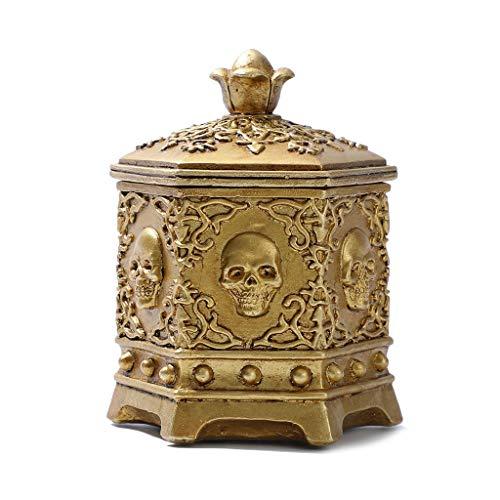 Hfior - Portagioie con teschio, stile vintage, per Halloween, in metallo, per anelli, orecchini, collane, regalo per ragazze, madri, donne