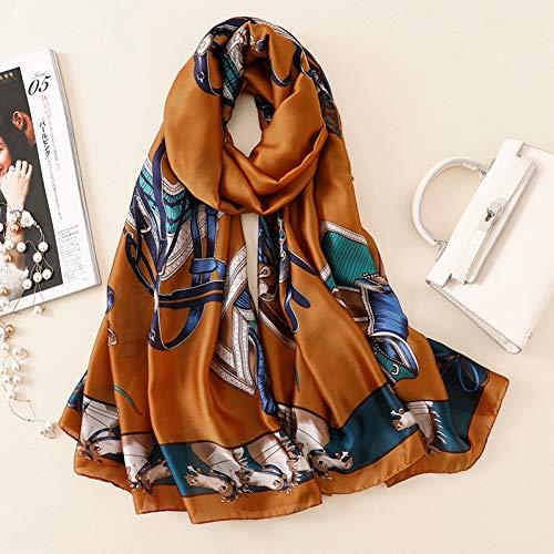 MYTJG Lady sjaal Dames Mode Zijde Sjaal Elegante Dame Print Sjaal Tas Vrouwelijke Strand Sjaal Sjaal