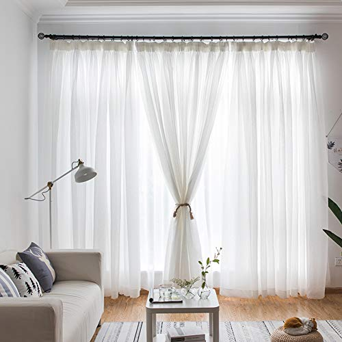Pure White Breathable Sheer Curtains,Blackout Curtains,Easy to Wash Prevent Sunlight for Floor to Ceiling Bay Window Bedroom(1 Curtain)-White 400x270cm(157x106inch)
