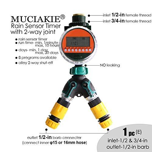 N\A Schlauch Sprinkler Wasser Timer Intelligent Regen Sensor Timer mit Alu-Y-Verbindungsgartenbewässerung Bewässerung Timer-LED-Anzeige Elektronischer Zeit (Color : Timer Alloy 2ways e)