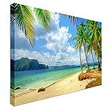 Qbbes, Tropical Beach Paradise Canvas Wall Art Picture Print-16x12inch(40x30cm)Framed