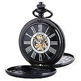 ManChDa Reloj de Bolsillo Hombre Mecánico, Collar analógico Vintage, con Caja de Regalo y Cadena para Hombre, Mujer (Negro)