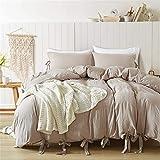 WANGCAN Bettwäsche Bettbezug Set 3 Teilig,Eleganter Stil Mikrofaser Bettgarnitur Bettwäsche-Set Kopfkissenbezug mit Reißverschluss|Komfortable dreiteiligeC-13 220 * 230cm + 50 * 75 * 2cm