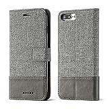 GOBY Custodia per Cellulare iPhone 7 Plus/8 Plus Portafoglio Ultrasottile Custodia in Tessuto + Pelle con Slot...