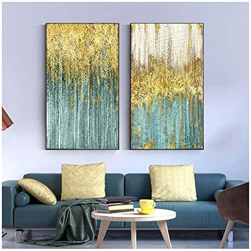 """HSFFBHFBH Lienzo Pintura Abstracta de Oro Azul Dots Resumen Cuadro de la Pared de Verde Gran salón de Arte decoración de la Pared Gris de pósteres y láminas 60x80cm (23.6""""x31.5) x2 Sin Marco"""