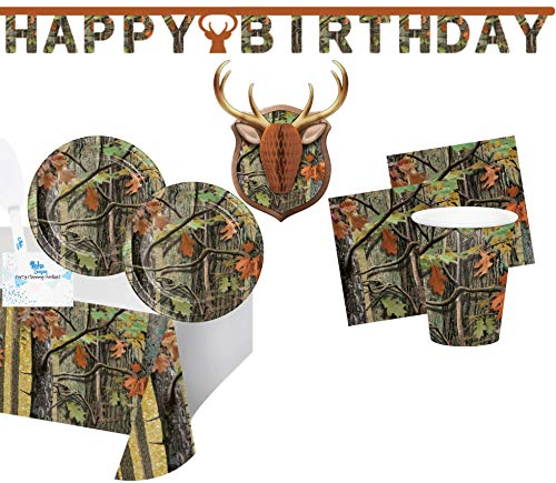 Hunting Camo Birthday Party Supplies - Plates Cups Napkins Banner Tablecloth Wall Decorations for 16 - Camouflage Hunting Party Decorations - Perfect for Outdoors, Fishing or Hunting Birthday Party!