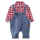 H.eternal(TM) Pagliaccetto per Bambini e Neonati, con Motivo a Quadri, Maglietta e Pantaloni in...