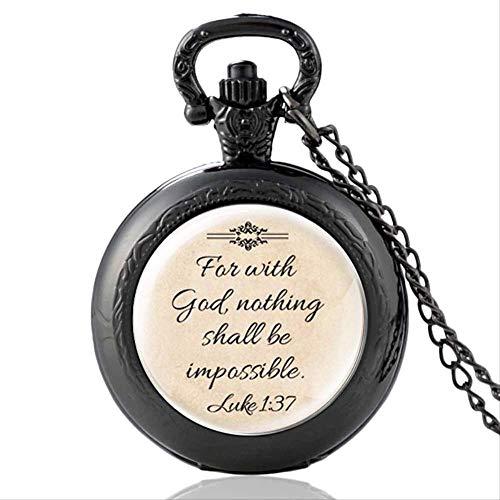 SWAOOS Versículo De La Biblia Vintage FAI con Dios, Nada Será Reloj De Bolsillo De Cuarzo Reloj De Horas Hombres Mujeres Colgante Collar Cristiano
