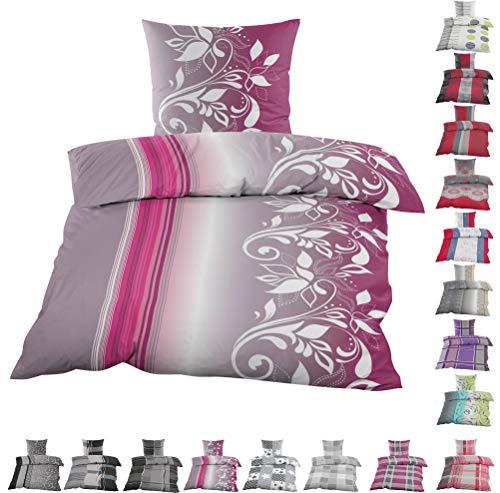 Home-Impression 2tlg. Winter Kuschel Fleece Bettwäsche 135x200cm / 155x220cm und 80x80cm Winterbettwäsche mit Reissverschlüsse (Pink Grau...