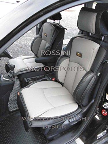 R – Adecuado para Fiat 500C, fundas de asiento de coche, YS01 Rossini gris/negro, 2 delanteras
