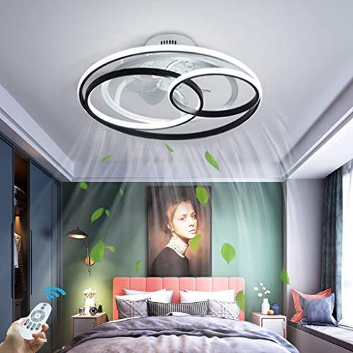LED Dimmbar Deckenventilator Mit Lampe Modern Kreativität Doppelter Ring Ventilator-Deckenleuchte Leise Ultra-Dünn Deckenlampe Mit Lüfter Wohnbereich Esszimmer Schlafzimmer Fan Beleuchtung,Ø53cm