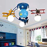 LAKIQ Boys Room Chandelier Airplane Modern LED Flush Mount Lighting with World Globe Creative Cartoon Aircraft Light Fixture for Kids Room Childrens Room Bedroom