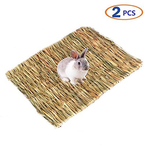 Tfwadmx Rabbit Grass Mat Natural Woven Seagrass Mat Bunny Bed Chew Mat Sleep for Rabbit Hamster...