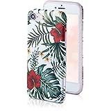 Qult motivoo Flores Carcasa para Móvil Compatible con iPhone 6s iPhone 6 Funda siliconaa Blanco Mate Case Delgado Bumper con Dibujos Flores Rojas de la Selva