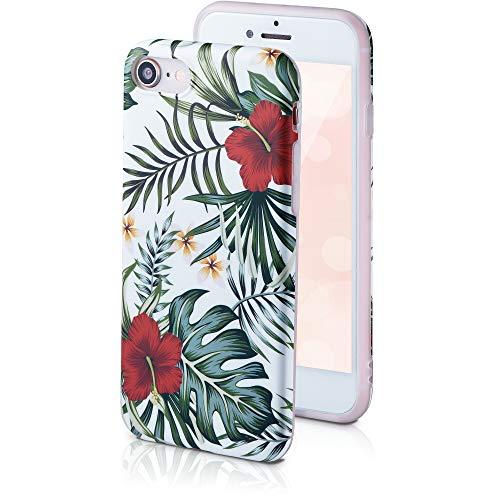 QULT Handyh?lle kompatibel mit iPhone 6s/6 H?lle Silikon wei? matt mit Motiv Flower Slim Case d?nn Bumper Case mit Muster Blumen Rote Dschungelblumen
