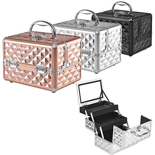 RELAX4LIFE Kosmetikkoffer, Schminkkoffer mit Spiegel, Kosmetikkasten tragbar für Reise, Beauty Case 3 Fächer, Make up Box für Lippenstifte & Nagellack & Schmuck, Friseurkoffer klappbar (Silber)