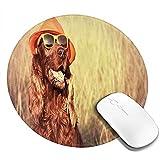 Alfombrilla de ratón Redonda, Gracioso Perro irlandés Retro Setter con Sombrero y Gafas de Sol Humor Joy Picture, Alfombrilla Antideslizante para Juegos