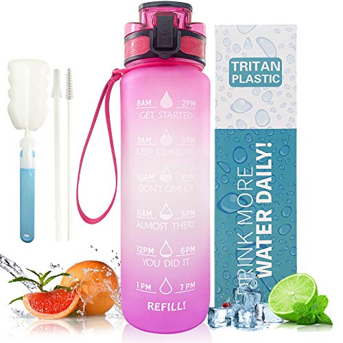 32oz Sports Water Bottle with Straw + 2Pcs cleaning brush, with Motivational Time Marker & Removable Strainer, Flip Top Leak Proof Lid w/ One Click Open. BPA Free. for Fitness and Outdoor Sports
