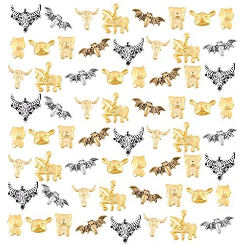 OLYCRAFT 160 piezas de relleno de resina con temática animal de aleación de resina epoxi, accesorios de relleno de resina UV oro y plata para manualidades de resina, 10 formas
