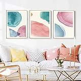 Acuarela nórdica geometría arte de la pared pintura en lienzo impresiones carteles de colores abstractos para sala de estar decoración moderna para el hogar contratado 50x70cmx3 sin marco