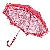 bizofft Paraguas, Paraguas de Novia Delicado, Detalles prácticos elaborados con Amor Diseño Elegante Mango en Forma de J para la decoración de la Fiesta Nupcial de la Boda(5123 Red)