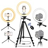 12 inch Ring Light with Stand and Phone Holder, LED Circle Light with Camera Tripod, Remote Shutter, Desk Ringlight for iPhone Video Recording, YouTube TIK Tok Streaming, Zoom Meeting, Photo Selfie