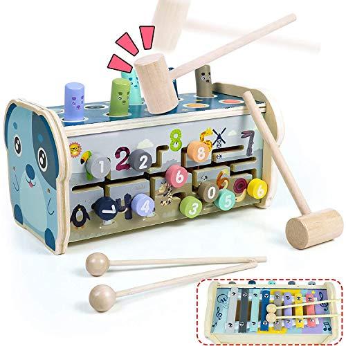 HLD De madera Multifuncional Hámster Percusión Juego de Aprendizaje Ayuda Forma Reconocimiento de Color de la Educación Temprana Infancia Cerebro Juego Bebé Y Juguetes para Niños