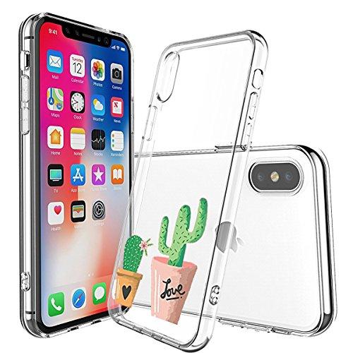 Cover iPhone X Trasparente, iPhone X Cover Silicone Ultra Simpatico Disegno Animale Slim Custodia in Silicone Antiurto No-Slip Anti-Graffio Semi Morbido Ultra Slim con Disegno per iPhone X (Cactus)