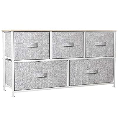 YITAHOME Wide Dresser with 5 Drawers - Fabric Storage Tower, Organizer Unit for Bedroom, Living Room, Hallway, Closets & Nursery - Sturdy Steel Frame, Wooden Top & Easy Pull Fabric Bins - QUALITY CONSTRUCTION - Made of reliable metal frame and durable MDF wooden top; 5 removable and foldable drawers; Easy pull wooden handles help conveniently open and close the drawers; 4 adjustable plastic feet help protect your floor from scratches. DURABLE FABRIC - All the outer sides and inner sides are made of high quality breathable non-woven synthetic fabric; Easy Care- wipe clean with a damp cloth and allow to air dry. EASY TO ASSEMBLE - Detailed instructions and installation video will guide you through a hassle-free installation process, and hardware is included in the package so only fastening some screws will take energy. - dressers-bedroom-furniture, bedroom-furniture, bedroom - 518qcCtsGUL. SS400  -