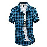 riou Camisa de Manga Corta para Hombre Cuello En V Camisetas Botón En Slim para Camisas Ocio Solapa Casual a Cuadros de Primavera y otoño para Hombres Blusa Tops T-Shirt