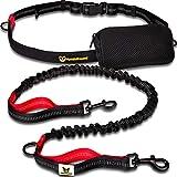 Guinzaglio mani libere per cani da jogging | Rosso e nero elastico e riflettente di 120 – 170 cm | Per corerre, canicross, passeggiate ed escursioni