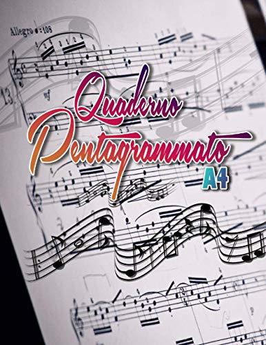 Quaderno pentagrammato a4: 100 pagine di composizione musicale formato grande con 12 righi per pagina