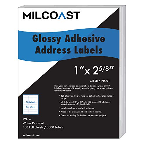 """Milcoast Glossy Address Labels 30 Per Sheet 1"""" x 2-5/8"""" Water Resistant for Laser or Inkjet Printer for Shipping, FBA, Name Tags (3000 Labels)"""