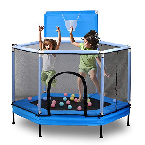 KAMDHENU Trampoline for Kids, 5.3ft Fitness Rebounder Trampoline with Safety Enclosure Net and Spring Pad Basketball Trampoline Combo, Jumping Exercise Fitness Trampoline, Gifts for Boy and Girl-Blue