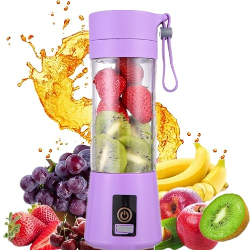 HANBO 380ml Electric Portable Juicer Blender Cup, Household Fruit Mixer with Six Blades in 3D, USB Rechargeable Juice Blender Magnetic Secure Switch Electric Fruit Mixer (Purple)