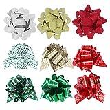 Arco de Navidad Arcos 24pcs Flower Star Arcos for la Caja de Regalo Decoración de árbol de Navidad de Navidad for Vacaciones de Año Nuevo Arca los Colores Tradicionales de vacacio