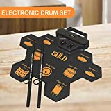 Moreup Electric Drum Set for Beginners kids, Digital Portable & Roll up Practice Drum Pads Midi Drum kit with Headphone Jack Pedals Drumsticks Built-in Dual Speakers Metronome Chargeable Battery