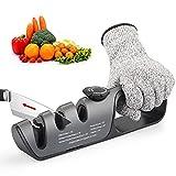 Afilador de Cuchillos, Afilador de Cuchillos Profesional, afilador multifunción 3 en 1, afilador con guantes protectores, combinación perfecta para la cocina