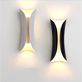 ACOC Led Wall Lights Indoor Wall Lamp White Uplighter Downlighter Perfect for Living Room Hallway Bedroom Hallway Corridor Stairs Night Light Warm White Fittings Modern,Black