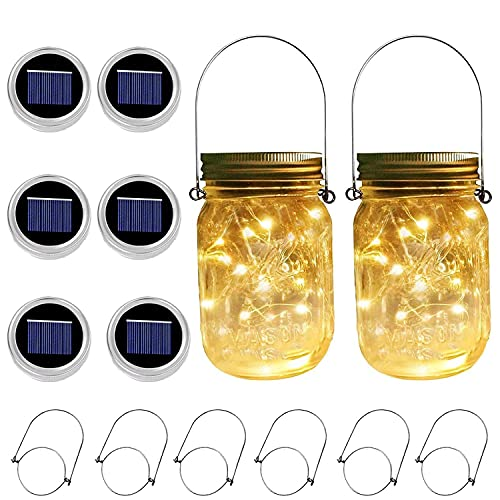6 Pack 30 LEDs Solar Mason Jar Lights, Fairy String Star Firefly Solar Jar Lids Lights,for Mason Jar,Patio Garden, Yard and Lawn Decor(Jars Not Included)