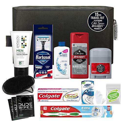 Convenience Kits International Men's Premium 15-Piece Kit wth Travel Size TSA Compliant Essentials, Featuring: Head & Shoulders Dandruff Shampoo Classic Clean and Palm Scalp Brush in Black Dopp Bag