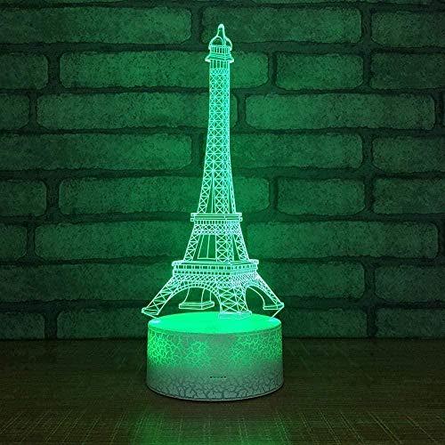 Paris Tower Luz nocturna para niños Luz nocturna 3D 7 Luz de mesa con control remoto táctil que cambia de color Adecuado para la decoración del hogar Día de Navidad Cumpleaños Regalo personalizado