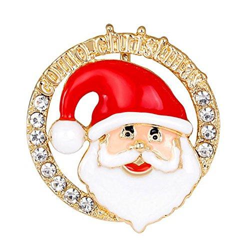 Milopon Mignon Père Noël Broches de Noël Brillant Strass Broche Corsage Chiffon Chapeau Pull Clip Cadeau de Nouvel an