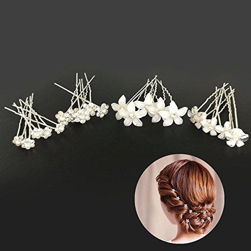 Ealicere Piques et épingle à cheveux de fleurs, 20pcs pince a cheveux diamant en forme de U, cristal forme,accessoire bijoux pour cheveux mariage ,le style de bijoux de mariée de mariage.